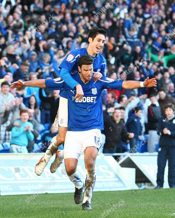 Cardiff Defender Dekel Keinan Celebrates Scoring His Goal to Make the Score 2-1 with Fellow Goalscorer Peter Whittingham United Kingdom Cardiff