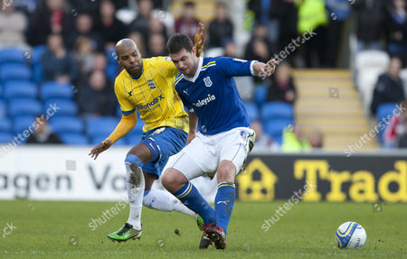 Marlon King of Birmingham City and Cardiff City Defender Anthony Gerrard in Action United Kingdom Cardiff