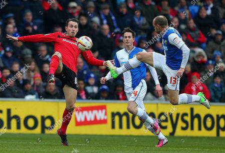 Jordan Mutch of Cardiff City and Danny Murphy of Blackburn Rovers United Kingdom Cardiff