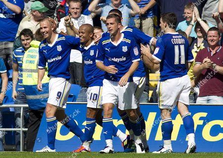 Cardiff City Striker Robert Earnshaw (2nd Left) Celebrates Scoring His Goal to Make the Score 3-0 United Kingdom Cardiff