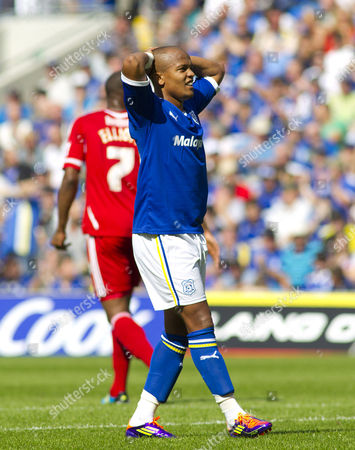 Cardiff City Striker Robert Earnshaw Shows A Look of Frustration After Missing A Chance United Kingdom Cardiff