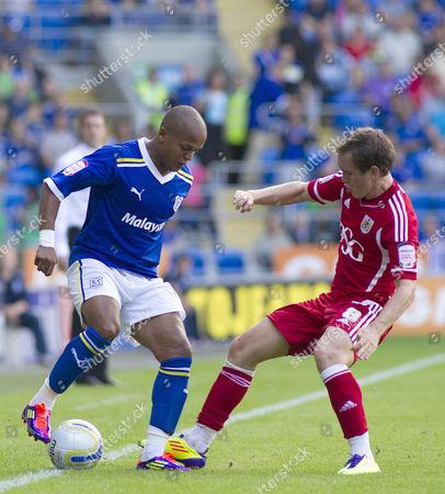 Cardiff City Striker Robert Earnshaw and Bristol City Midfielder Neil Kilkenny United Kingdom Cardiff
