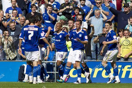 Cardiff City Striker Robert Earnshaw (3rd Left) Celebrates Scoring His Goal to Make the Score 3-0 United Kingdom Cardiff