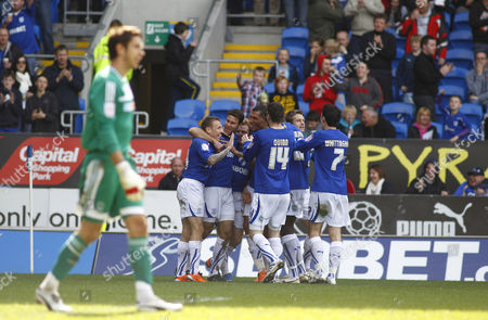 Stock Picture of Dekel Keinan of Cardiff City Celebrates Scoring His Goal to Make the Score 2-0 United Kingdom Cardiff