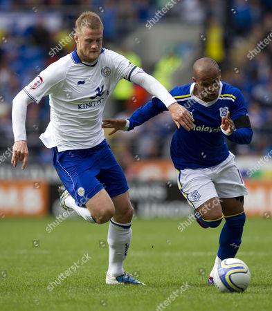 Leicester City Defender Matt Mills and Cardiff City Striker Robert Earnshaw in Action United Kingdom Cardiff