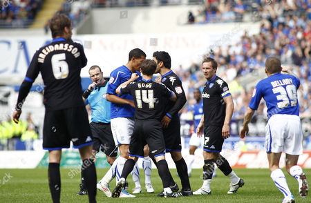 Portsmouth Defender Ricardo Rocha Head Butts Cardiff City Striker Jay Bothroyd Infront of Referee Kevin Wright Before Getting Sent Off United Kingdom Cardiff