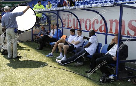 The Bbc Football Focus Team Left Left of Mark Lawrenson Lee Dixon and Presenter Dan Walker As Qpr Manager Neil Warnock Far Right Chats On His Mobile Phone Before Kick Off United Kingdom Cardiff