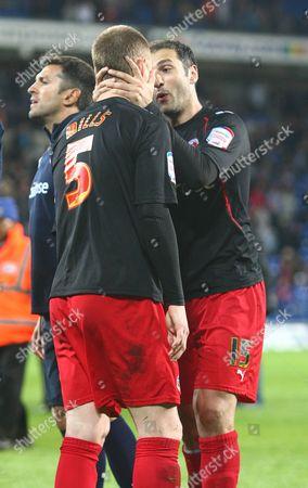 Reading Defender Matthew Mills Celebrates at the Final Whistle with Team Mate Zurab Khizanishvili United Kingdom Cardiff