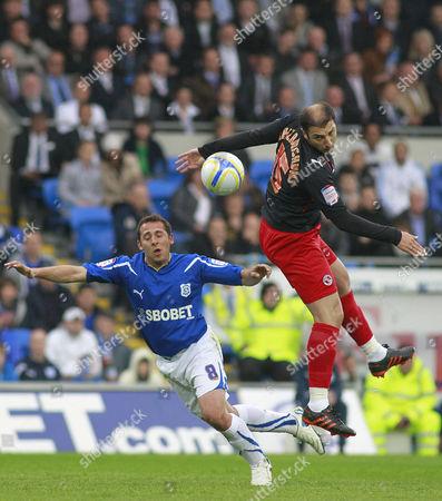 Cardiff City Striker Michael Chopra and Reading Defender Zurab Khizanishvili United Kingdom Cardiff