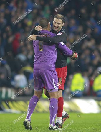 Reading Goalkeeper Adam Federici and Defender Zurab Khizanishvili Celebrate Their Third Goal United Kingdom Cardiff