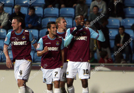 Frederic Piquionne of West Ham United Celebrates Scoring A Goal to Make the Score 1-2 United Kingdom Coventry