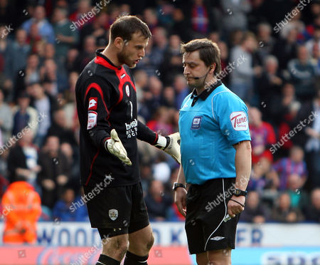Luke Steele of Barnsley Pleads with Referee K Evans After He Awarded Crystal Palace A Penalty United Kingdom London