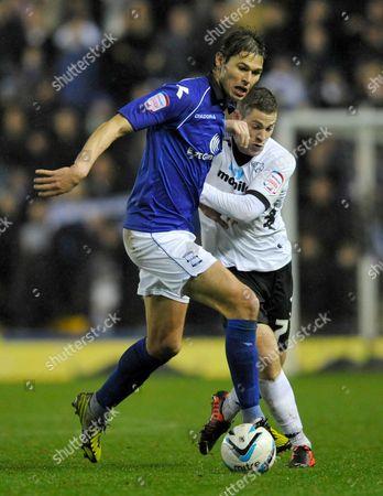 Nikola Zigic of Birmingham City and Paul Coutts of Derby County United Kingdom Derby