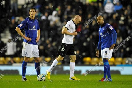 A Dejected Nikola Zigic and Marlon King of Birmingham City After the Goal of Conor Sammon of Derby County 1-0 United Kingdom Derby
