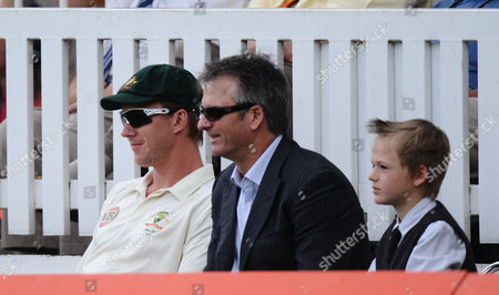 Stock Picture of Injured Australia Player Brett Lee Looks On Next to Former Captain Mark Waugh United Kingdom London