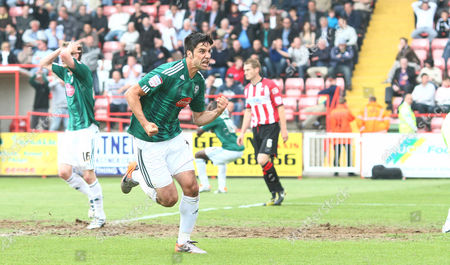 Rory Fallon of Plymouth Celebrates Thinking He Has Equalised But Team Mate Joe Mason (background) Shows His Frustration at Realising It Has Been Disallowed For Offside United Kingdom Exeter