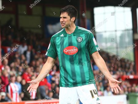 Rory Fallon of Plymouth Shows His Frustration at Having His Goal Disallowed United Kingdom Exeter
