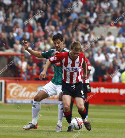 Rory Fallon of Plymouth Argyle and David Noble of Exeter City United Kingdom Exeter