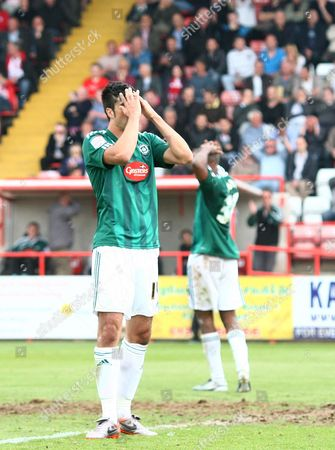 Rory Fallon of Plymouth Argyle Shows A Look of Dejection After A Missed Chance United Kingdom Exeter