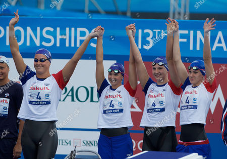 The Great Britain Women's 4 X 200m Relay Team of Joanne Jackson Caitlin Mcclatchey Rebecca Adlington and Jazmin Carlin Who Won the Bronze Medal Italy