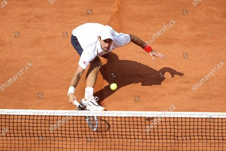 Serbia's Novak Djokovic in Action On His Way to Victory Over Italy's Potito Starace France Paris