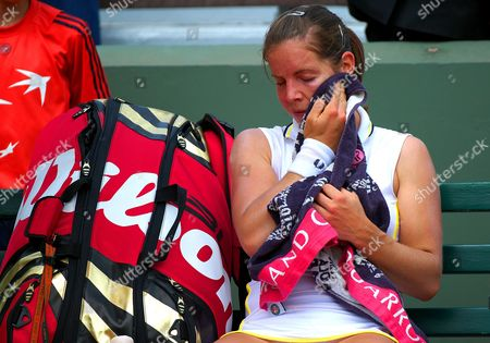 Katie O Brien of Great Britain Towels Her Face in Frustration at Roland Garros Paris 2010 France Paris