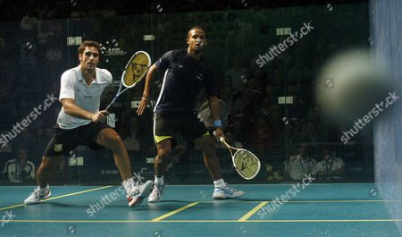 Adrian Grant of England in Action Against Karim Darwish of Egypt in the Quarter-final United Kingdom Manchester