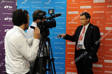 Stock Image of Liverpool Fc Director of Football Damien Comolli is Interviewed United Kingdom London