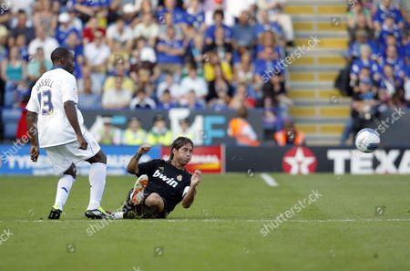 Sergio Ramos of Real Madrid and Darius Vassell of Leicester City