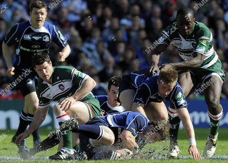 Stock Picture of Danny Hipkiss of Leicester Tigers Looks On As Gordon D'arcy of Leinster Recovers to Scramble the Ball United Kingdom Edinburgh, Scotland
