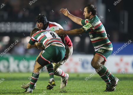 Stephen Ferris of Ulster in Action with Sam Harrison and George Chuter of Leicester Tigers United Kingdom Leicester