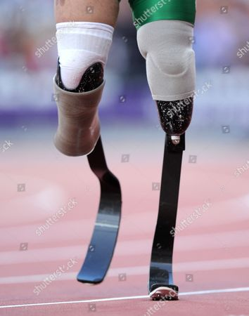 The Carbon Fibre Leg Modules of Cardoso Fonteles Alan Oliveira of Brazil During His Men's 100m T44 Heat at the Olympic Stadium During the 2012 London Paralympics London Uk 05 September 2012