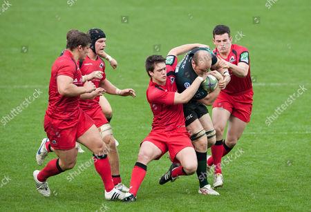 Matt Garvey of London Irish Takes On the Edinburgh Defence Including Harry Leonard and Matt Scott United Kingdom Reading