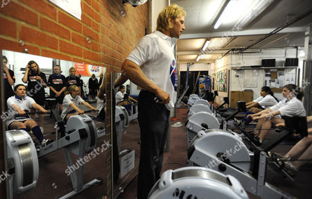 Great Britain Olympic Gold Medallist Andy Triggs Hodge Takes A Group of Richmond School Children Through Some Rowing Machine Drills While Promoting the London Youth Games Triggs Hodge Rows For the Skipton Building Society Sponsored Molesey Boat Club in South West London