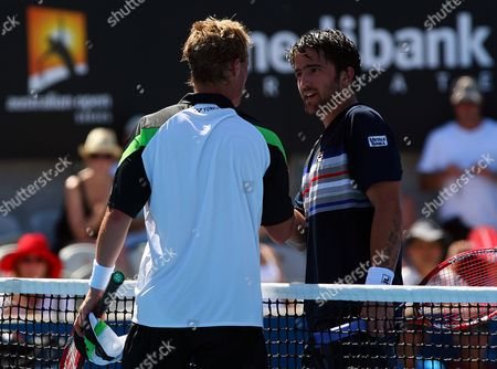 Jarko Tipsarevic of Serbia Shakes Hands with Lleyton Hewitt of Australia at the Net at the Sydney Medibank International