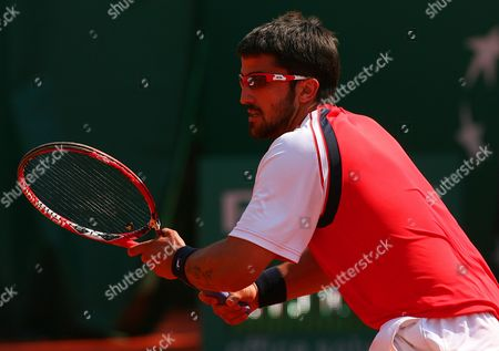 Jarko Tipsarevic of Serbia in Action During A Match at the Monte Carlo Masters Series Monaco Monte Carlo