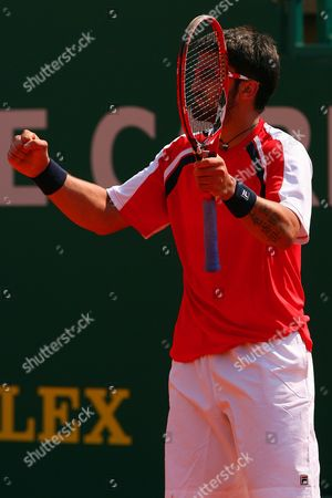 Jarko Tipsarevic of Serbia Celebrates On Match Point at the Monte Carlo Masters Series Monaco Monte Carlo