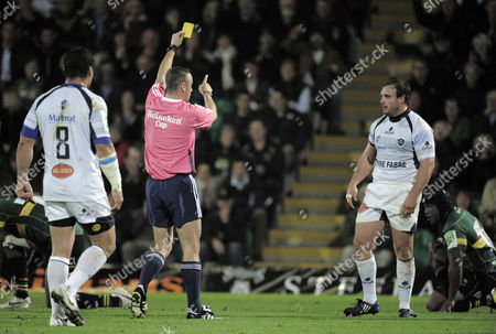 Referee John Lacy Sends Matthieu Bonello of Castres Olympic to the Sin Bin United Kingdom Northampton