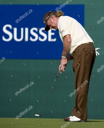 Miguel Angle Jimenez of Spain Putts On the 18th Hole to Win the Tournament