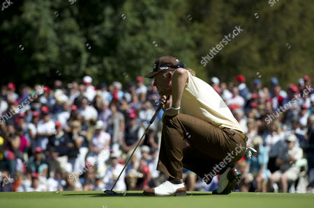 Miguel Angle Jimenez of Spain Lines Up A Putt