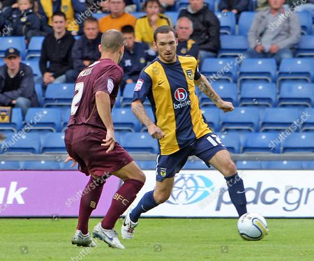 Mitchell Cole of Oxford United (brother-in-law of Liverpool Star Joe Cole) Takes On Phiol Picken of Bury United Kingdom Oxford