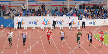 Oscar Pistorius (rsa No 7) in Lane 8 Arnu Fourie (rsa No 8) Lane 3 and Ian Jones (gbr No 5) in Lane 2 Competing in Event 8 : T44 100m Men For Amputee & Les Autres During the Athletics at the Bt Paralympic World Cup at Sport City in Manchester