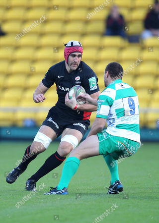 Fabio Semenzato of Benetton Treviso in Action with Kelly Brown of Saracens United Kingdom Watford