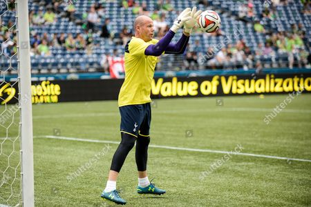 Tottenham Hotspur Goalkeeper Brad Friedel Warms Up Before the Game Uk Sales Only