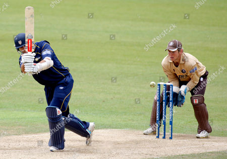 Kyle Coetzer of Durham Dynamos is Bowled out by Chris Schofield of Surrey Brown Caps with Gary Wilson Minding the Wicket United Kingdom London