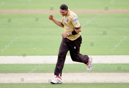 Andre Nel of Surrey Brown Caps Celebrates the Wicket of Will Smith of Durham Dynamos Which Was Caught by Team Mate Chris Schofield United Kingdom London