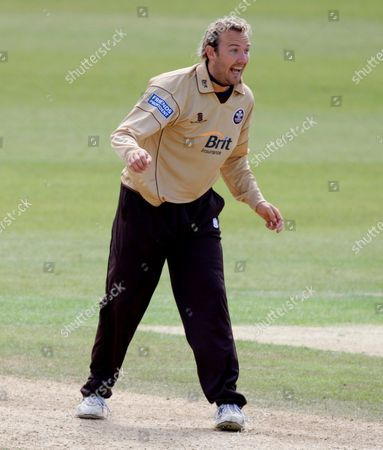 Chris Schofield of Surrey Brown Caps Celebrates After Ian Blackwell of Durham Dynamos Was Caught out by Grant Elliot of Surrey Brown Caps United Kingdom London