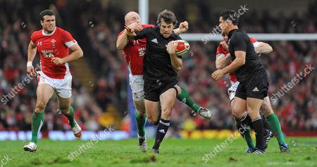 Conrad Smith of New Zealand Shrugs Off Tom Shanklin of Wales' Tackle United Kingdom Cardiff