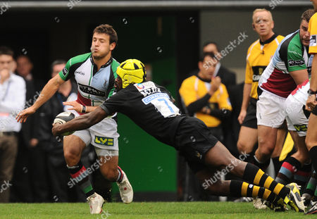 Serge Betsen of London Wasps Intercepts A Pass From Harlequins Scrum Half Danny Care United Kingdom London