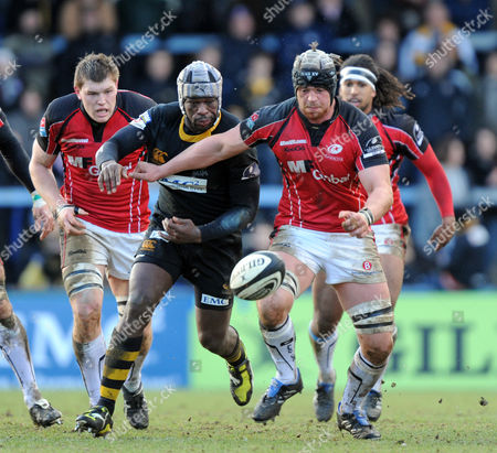 Serge Betsen of Wasps and Tom Ryder of Saracens Chase Down A Loose Ball United Kingdom Wycombe